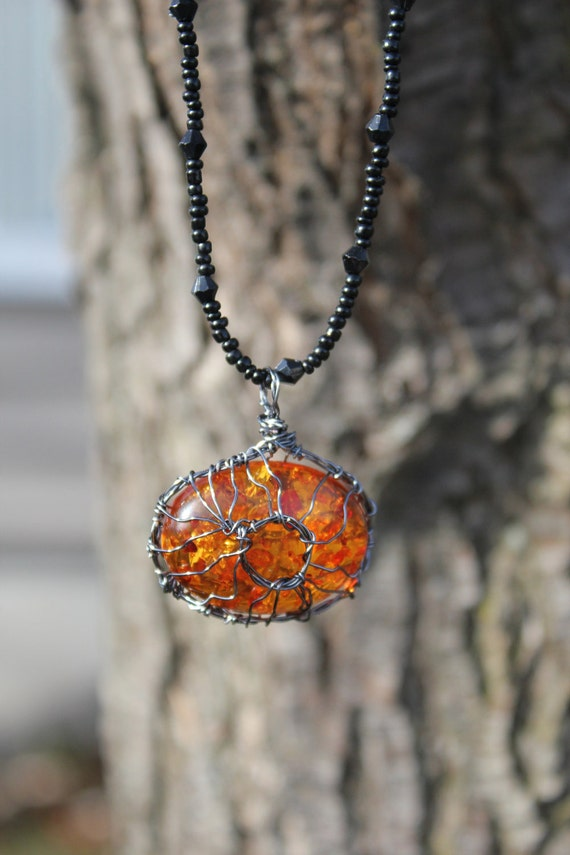 Baltic Amber Stone Wire Wrapped pendant with black beaded necklace Sun like for men, woman, teen