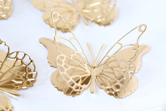 Set of 12 golden metallic elegant two layers Vivienne die cut butterflies embellishment  wedding any occasion