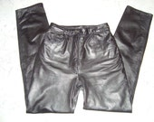 1980's Black Vintage Tannery West Leather Pants size 4