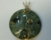 Handcrafted OOAK Rainforest Jasper Pendant / Wire Wrapped 14K Gold filled Jewelry