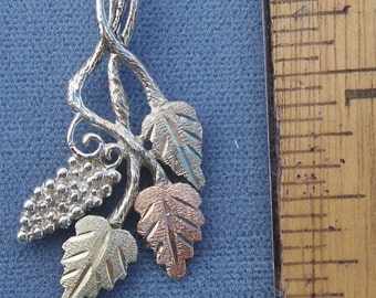 Whitaker's Black Hills Gold on Silver Jewelry Grapes & Leaves Slide Pendant