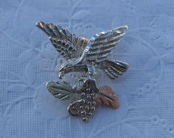 Whitaker's Black Hills Gold on Silver Jewelry Eagle Slide Pendant
