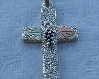 Whitaker's Black Hills Gold on Silver Jewelry Pebble Cross Pendant