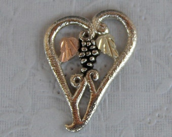 Whitaker's Black Hills Gold on Silver Jewelry Heart Pendant