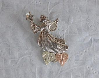 Whitaker's Black Hills Gold on Silver Star Angel Pendant