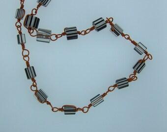 "Sealed Copper & Cane Glass Beads 23"" Designer Necklace"