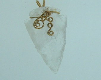 Rock Crystal Arrowhead Pendant // 14K Gold filled Wire Wrapped Gemstone Jewelry // Gifts for Dad // A8