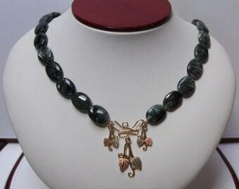 Saraphanite Bead & Black Hills Gold Designer Necklace