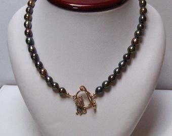 Designer Peacock Pearls & Black Hills Gold Necklace