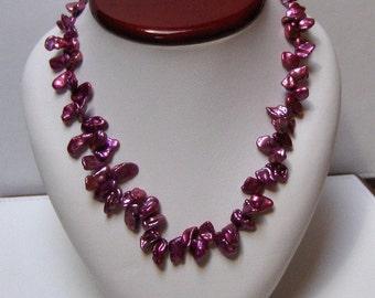 Purple Freshwater Petal Pearl Necklace  // June Birthstone