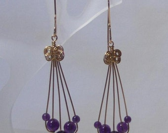 Amethyst Chandelier Earrings Handcrafted 14K Goldfilled Wire Wrapped Jewelry /// Febuary Birthstone