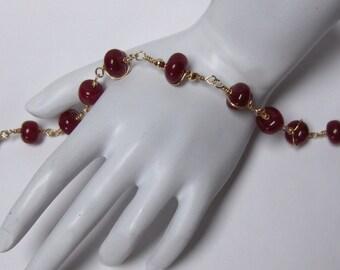 Handcrafted Genuine Ruby Bead Bracelet  // 14K Gold-filled Wire Wrapped Gemstone Jewelry // JULY BIRTHSTONE