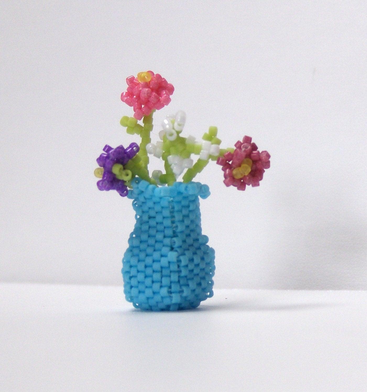 miniature beaded vase flowers sculpture