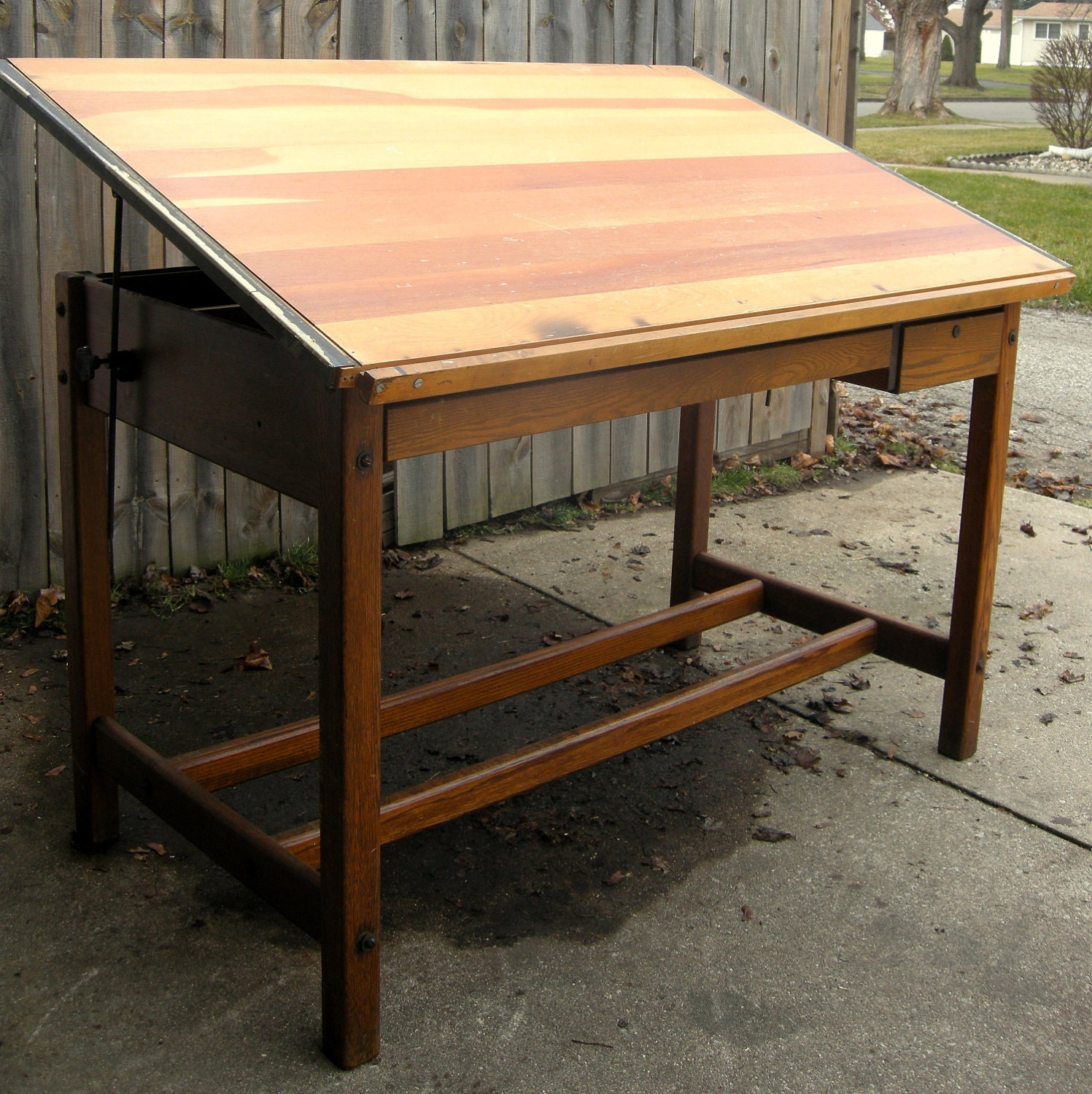 Drafting table dimensions - Beautiful Solid Wood Vintage Drafting By Treasurehuntingmama