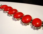 Coro Red Bracelet 6 Red Stones In a  Gold Tone Bezel Setting Of Links Very Ornate