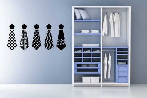 Items similar to men 39 s neck ties decal sticker vinyl - Mens bedroom wall art ...
