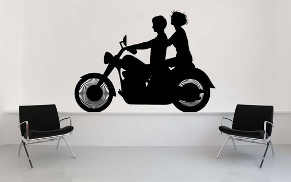 Motorcycle Wall Art, Ride, Cruiser, Motorcycle Wall Decal, Couples Gift, Moped, Triumph, Sticker, Vinyl, Wall, Home, Office, Garage Decor