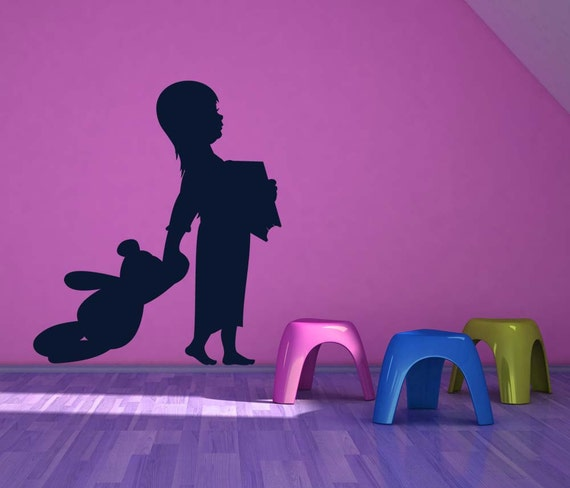 Girl, Reading, Teddy Bear Art, Toddler Wall Art, Bedtime, Kids Room Decor, Sticker, Vinyl, Wall, Home, Daycare, Playroom, Nursery Decor
