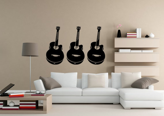 Acoustic Guitar, Guitar Decal, Guitar Decor, Music Notes, Music Decal, Music Decor, Musical, Wall Art, Home Art, Office Decor, Bedroom Decor