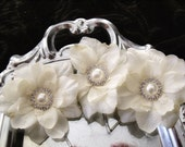 Wedding Bridal Hair Rose Flowers - Ivory Cream  Delphiniums - Pearl and Rhinestone Center -  Alligator Clip or Bobby Pins - romantic floral