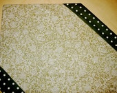 Irish Lace Look Table Runner - Olive green with lace pattern polka dots