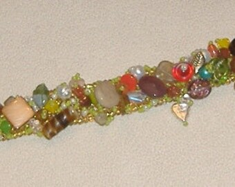 Beaded cuff bracelet Happy Mothers Day amber seed beads clusters of assorted glass beads