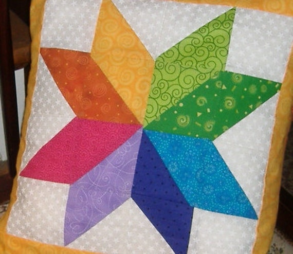 "Traditional 8 point star quilt block pillow cover - Bold Colorwheel """"SALE"""""