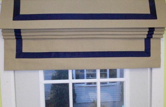 Flat Roman Shades Grosgrain Ribbon Border Custom Made To