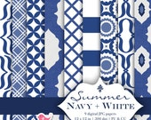 INSTANT DOWNLOAD navy and white digital paper