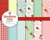 Strawberry Fields digital paper set
