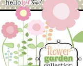 INSTANT DOWNLOAD flower garden digital clipart collection - scrapbooking, invitation design, party printables, card & stationery making