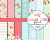 Shabby Chic Digital Paper - Ellah Rose digital paper set - vintage shabby chic, roses, floral, damask