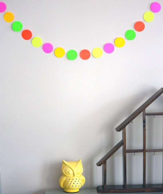 Neon multicolor paper garland 5ft / round/ ready to ship