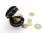 Macaron coin purse - change wallet, mini case purse, black polka dots
