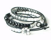 Reserved for Shanna, 3x leather wrap bracelet, leather cuff, boho chic, black, white, silver with apple blossom button,