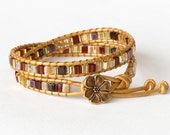 Golden autumn colors double leather wrap bracelet with Japanese Miyuki beads and bronze colour apple blossom button