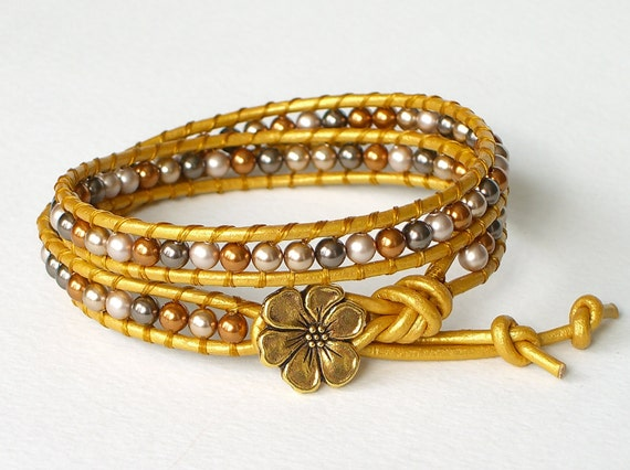 9x bracelets RESERVED FOR TEMMA - Swarovski pearl golden leather wrap bracelet with Tierra Cast apple blossom button