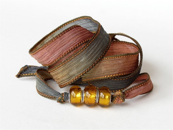 Bohemian silk wrap summer beach bracelet - hand dyed silk ribbon in earth tones & golden silver foil Pandora style glass beads