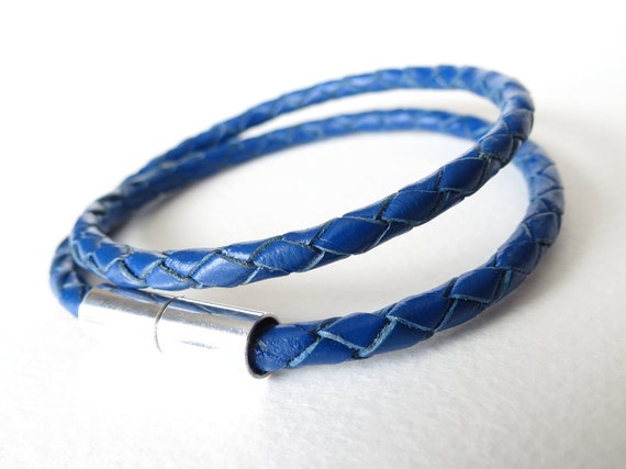 Hipster leather wrap bracelet in cobalt blue with silver plated magnetic clasp, midnight blue, double wrap bracelet