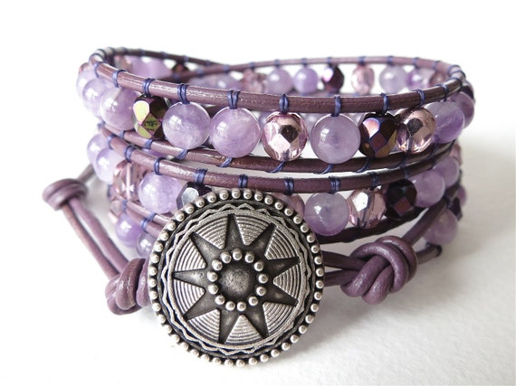 Hipster style amethyst sage agate wrap bracelet, fall colors, purple leather cuff, purple, pink and rose glass beads, metal star button