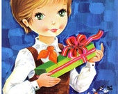 Unsent Vintage 70s Postcard of a sweet Big Eyed Girl - Giving a Present
