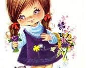 Big Eyed Girl Vintage 70s  postcard by Gallarda, The Girl with the Flower Basket - RESERVED for Bita