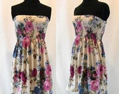 Strapless Romantic Floral Dress Skirt Bandeau White Pink Blue Boho Bohemian Girlie Pretty Summer Festival