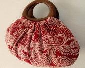 Boho burgundy ruby red paisley cotton with round wood handles handbag, handmade bag
