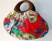 Wood handle purse in beautiful red, green & multicoloured paisley cotton fabric, handmade bag