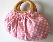 Handbag in cute white polka dots on pink Japanese cotton/linen fabric with wood handles, handmade bag