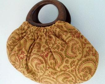 Boho Handbag Indian Block Print Cotton Fabric with Wood Handles