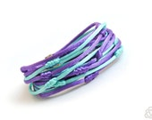 Mint and Violet Double Wrap Multistrand Bracelet Knotted Satin Cords, Friendship Bracelet, Rope Jewelry, Christmas Gift for Her, Winter