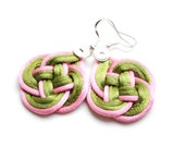 Knot earrings, green and pink earrings, knotted earrings, elegant earrings, satin, celtic knot, chinese knot, spring trends, gift for her
