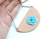 Half moon genuine nude leather necklace with pale blue satin knotted flower glass beads, fall winter trends, gift for her